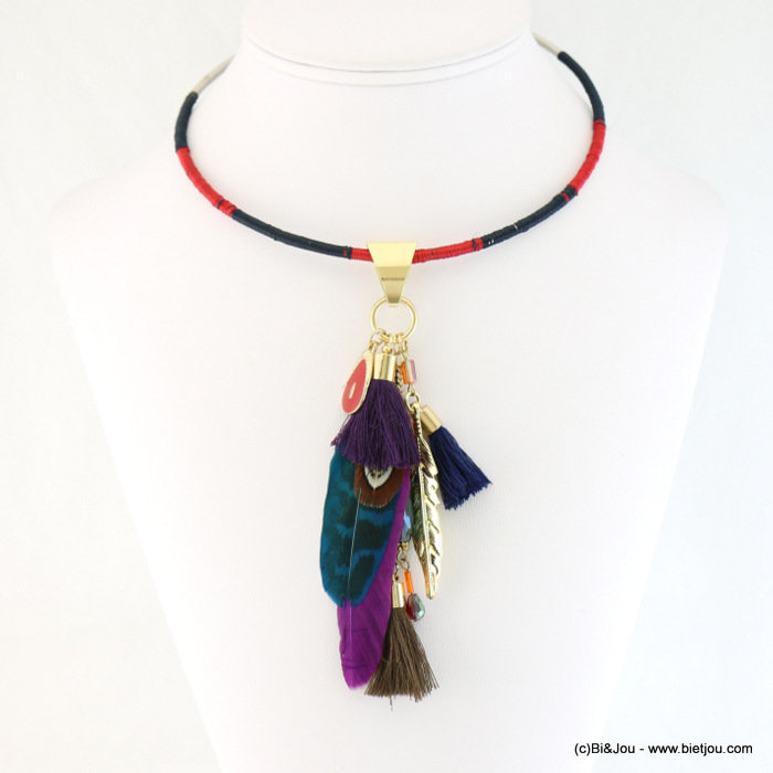 necklace 0117648-99 choker gypsy chic metal and natural feather fabric tassel polyester-cristal