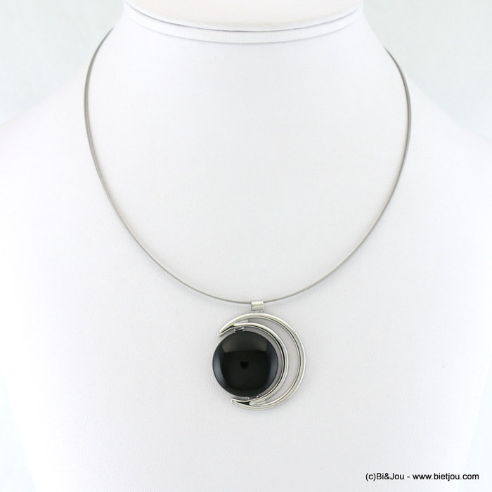 necklace 0117913-01 crescent moon black onyx stone pendant 30mm metal-wires