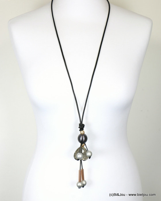 necklace 0117939-01 sautoir doll leather-metal-crystal