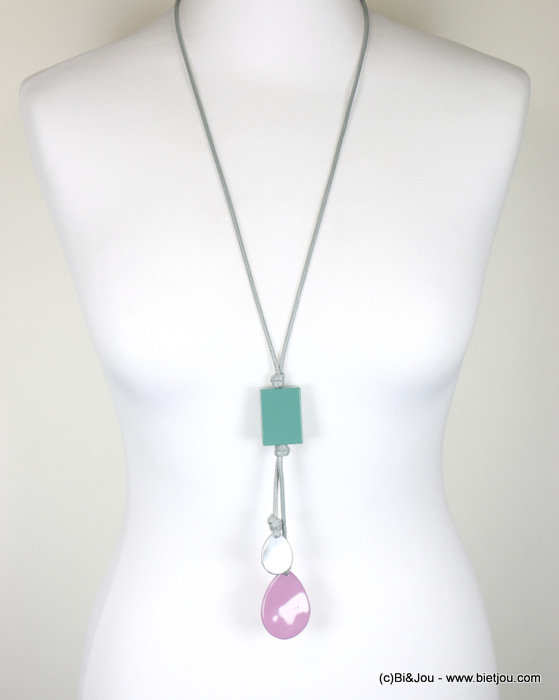 long necklace 0118013-01 sautoir pastel painted metal waxed cotton cord