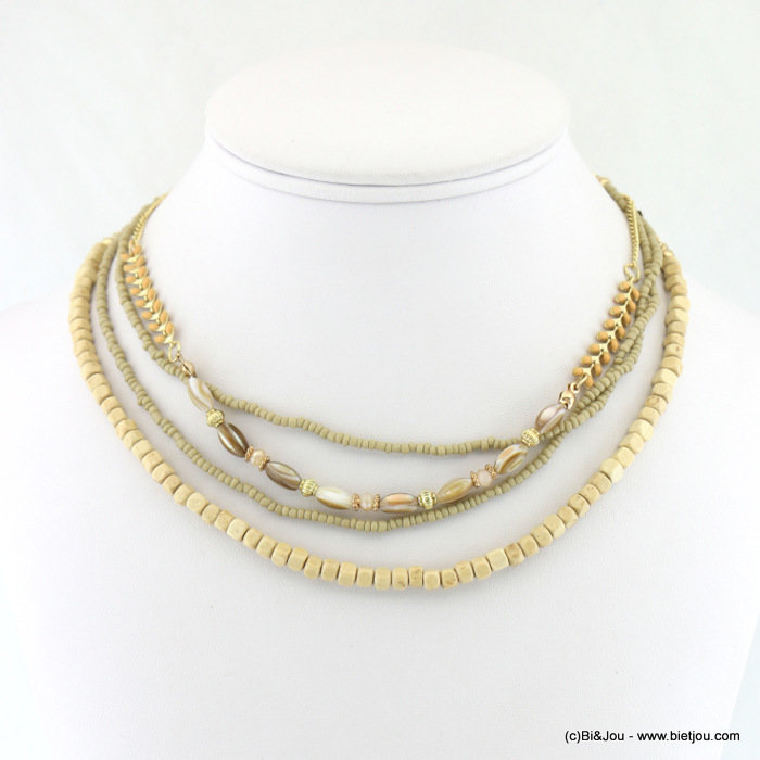 necklace 0118073-06 metal-wood-crystal-shell-seed beads