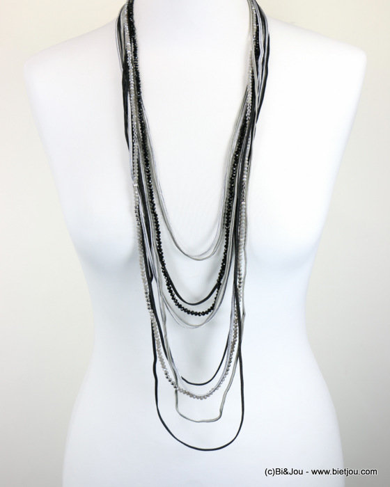 necklace 0118083-01 sautoir crystal-polyester-metal
