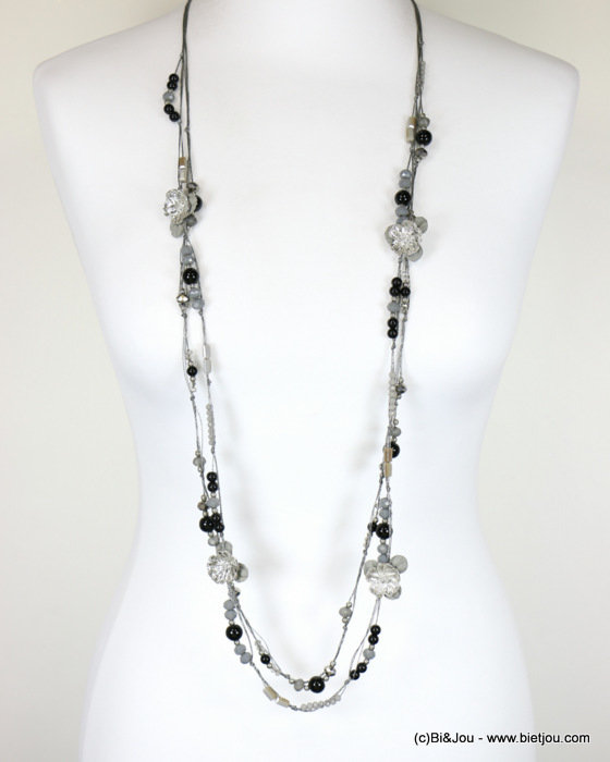 long necklace 0118088-01 sautoir 2-rows flower crystal polyester-metal