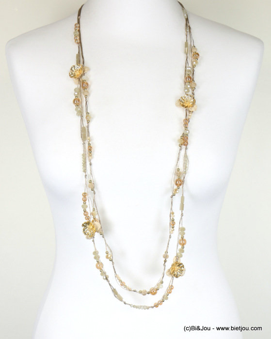 long necklace 0118088-06 sautoir 2-rows flower crystal polyester-metal