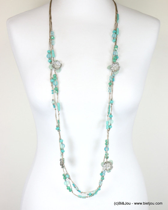 long necklace 0118088-07 sautoir 2-rows flower crystal polyester-metal