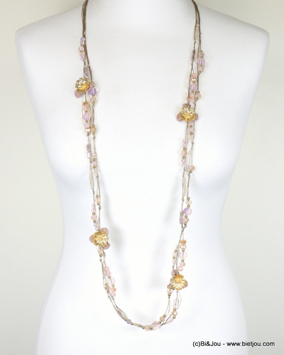 long necklace 0118088-33 sautoir 2-rows flower crystal polyester-metal