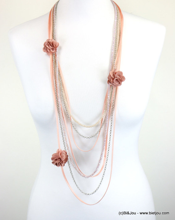 necklace 0118089-18 sautoir flower crystal-metal-polyester