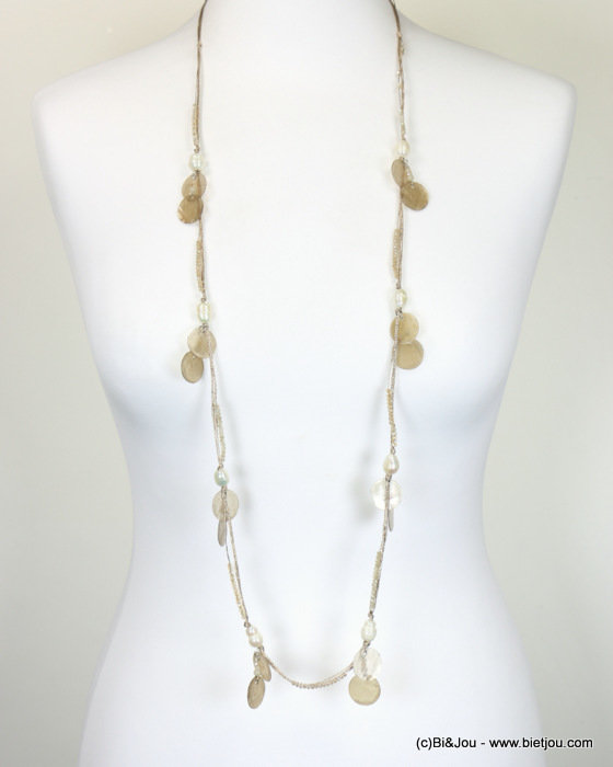 necklace 0118102-06 sautoir freshwater pearl bead-shell-polyester-metal-crystal