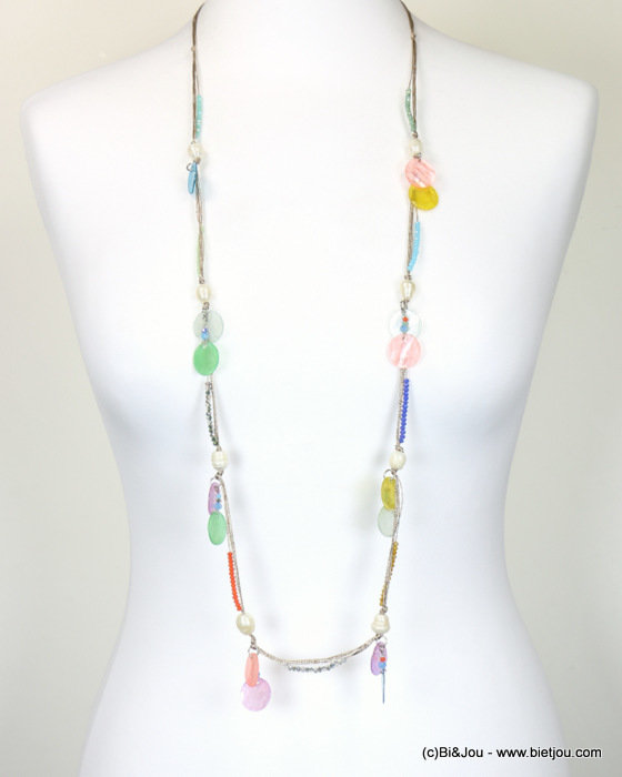 necklace 0118102-99 sautoir freshwater pearl bead-shell-polyester-metal-crystal