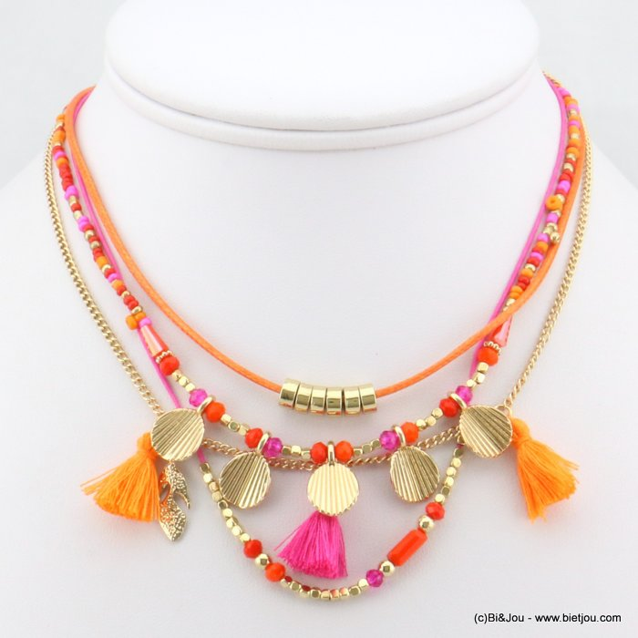 necklace 0118152-28 tassel shell-polyester-metal-crystal-seed beads