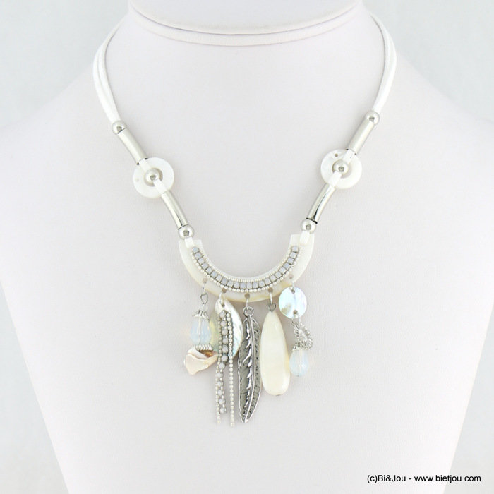 necklace 0118155-06 shell-suede-strass-crystal-metal