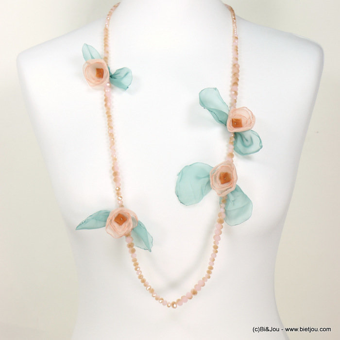 necklace 0118194-18 sautoir flower crystal-metal-muslin