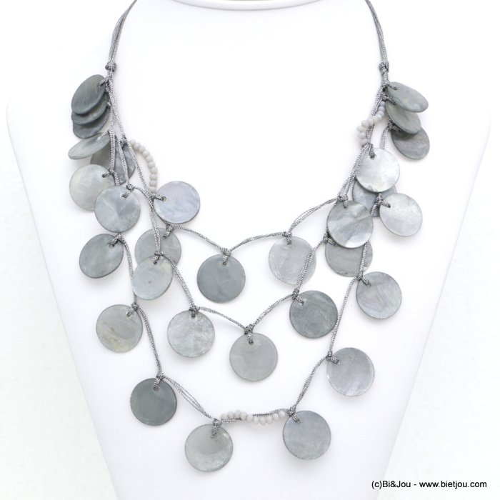 necklace 0118201-25 multi-row shell coins