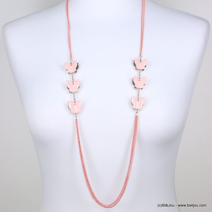 long necklace 0118242-18 sautoir women enamel butterfly coloured metal thin chains
