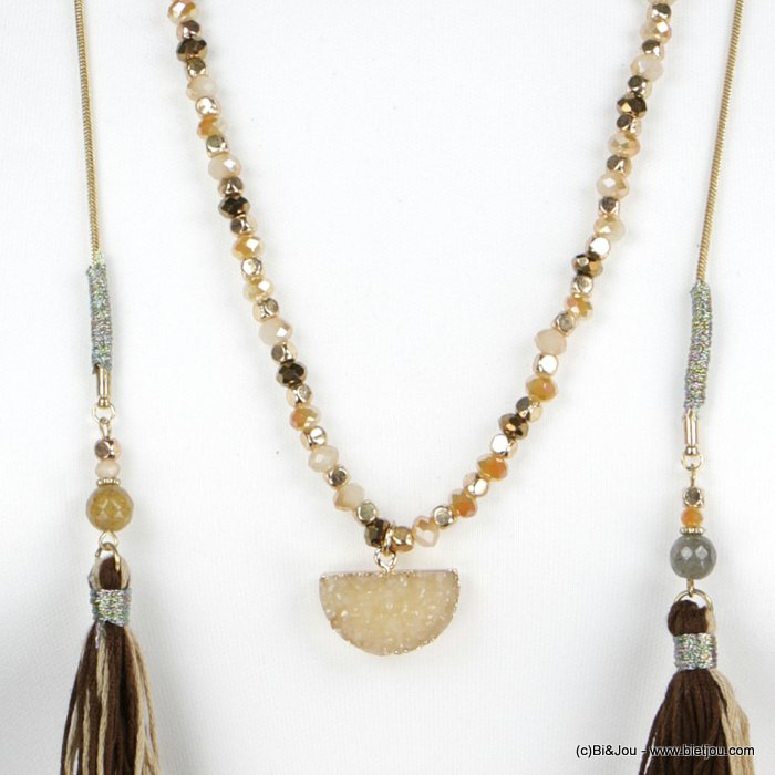 necklace 0118514-02 lasso natural stone tassel pompom woman