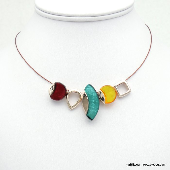 necklace  0118530-99 three-coloured resin pendant cable metal women