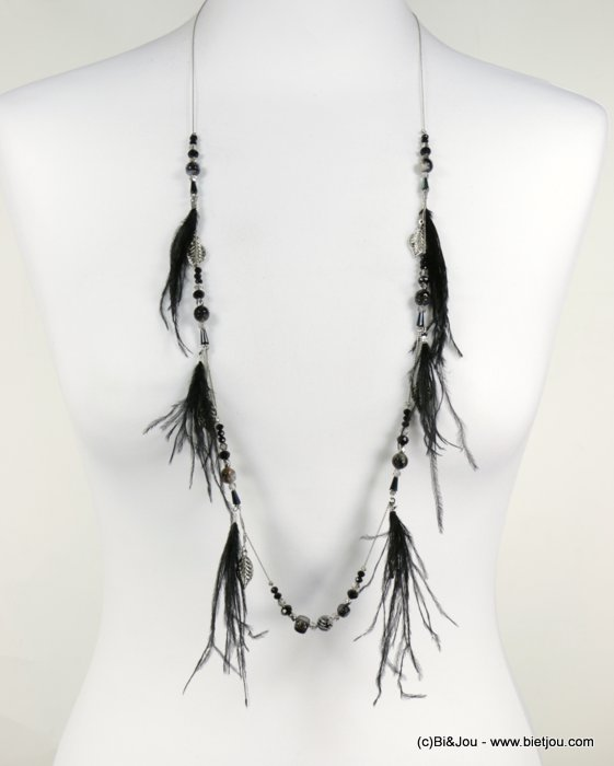 long necklace 0118538-01 sautoir feather coloured crystal natural shell leaf metal chain woman