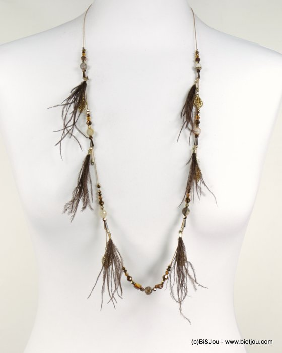 long necklace 0118538-02 sautoir feather coloured crystal natural shell leaf metal chain woman
