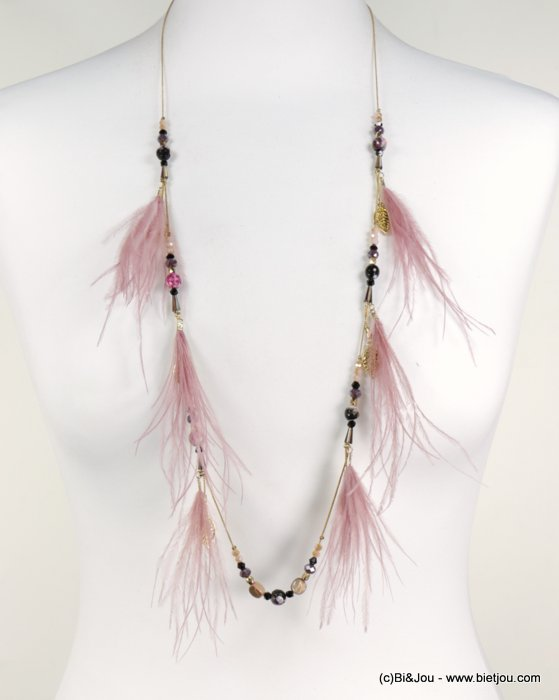 long necklace 0118538-18 sautoir feather coloured crystal natural shell leaf metal chain woman