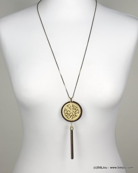 necklace 0118539-02 sautoir gold circle pompom little metal chains snake link synthetic woman