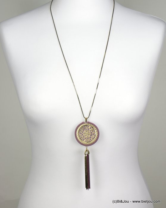 necklace 0118539-04 sautoir gold circle pompom little metal chains snake link synthetic woman