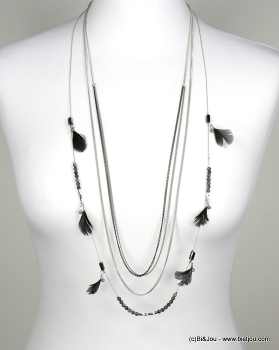 necklace 0118542-01 sautoir layering little chains feather crystal reconstitute stone metal woman