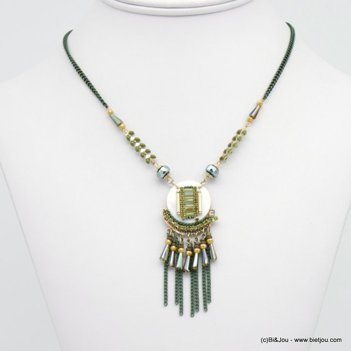 necklace 0118544-03 ear of wheat shell pendant rhinestone coloured crystal small chains metal woman