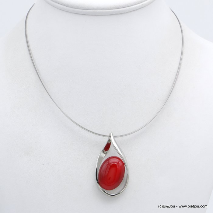 "necklace 0118550-12 oval shape pendant cat tail ""cat eyes"" glass-metal-cable woman"