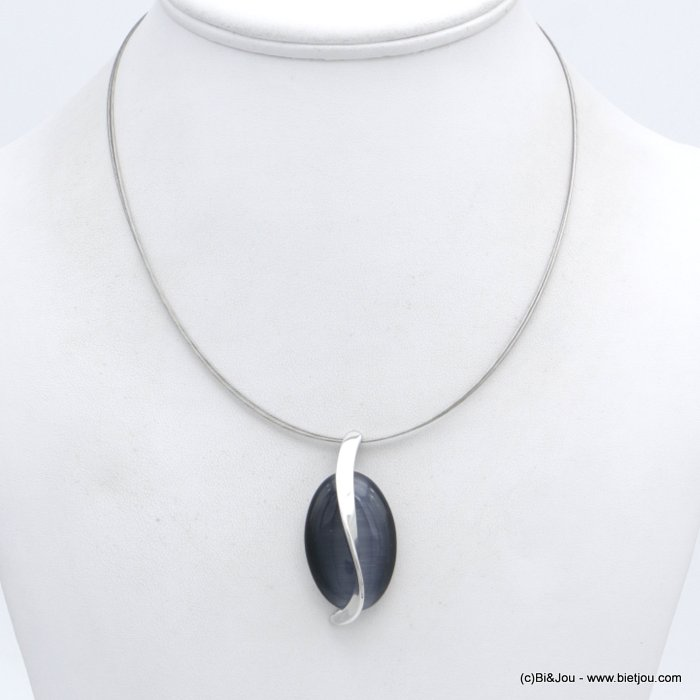 "necklace 0118552-26 ""cat eye"" pendant glass-metal-wires"