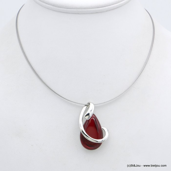"necklace 0118553-12 ""clear glass"" pendant metal"