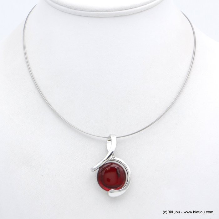 "necklace 0118554-12 ""clear glass"" pendant metal-wires"