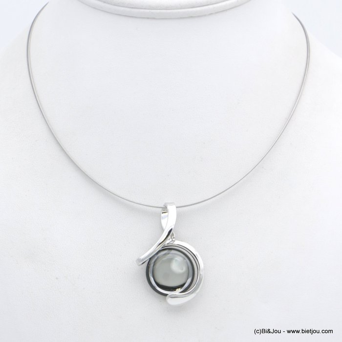 "necklace 0118554-25 ""clear glass"" pendant metal-wires"