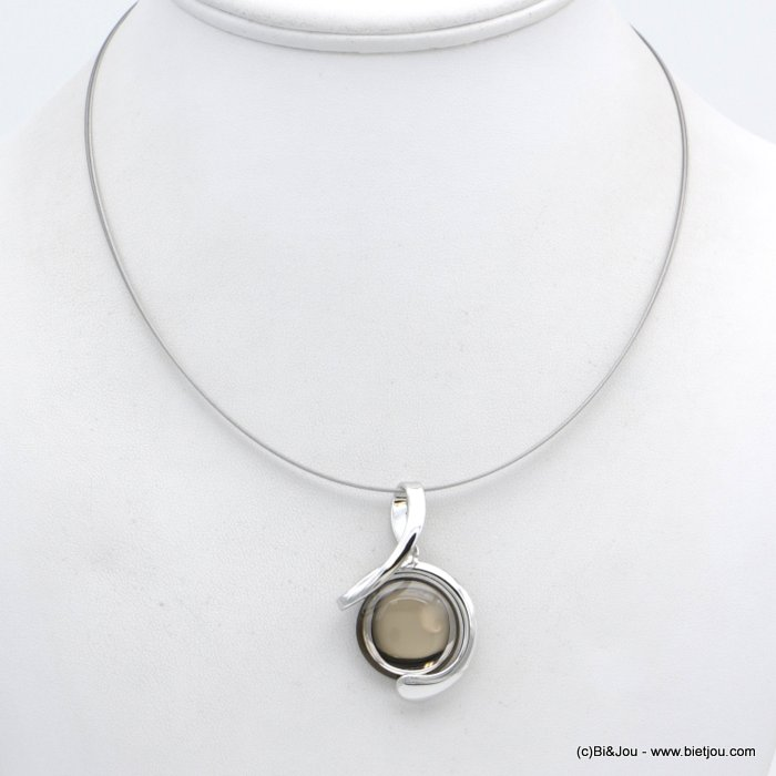 "necklace 0118554-30 ""clear glass"" pendant metal-wires"