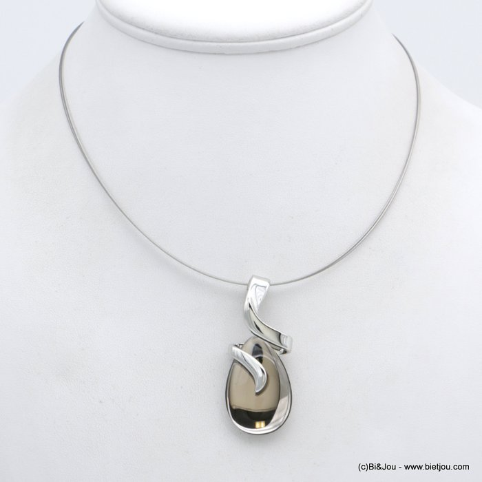 "necklace 0118555-30 drop shape ""clear glass"" pendant 30mm glass-metal-cable woman"