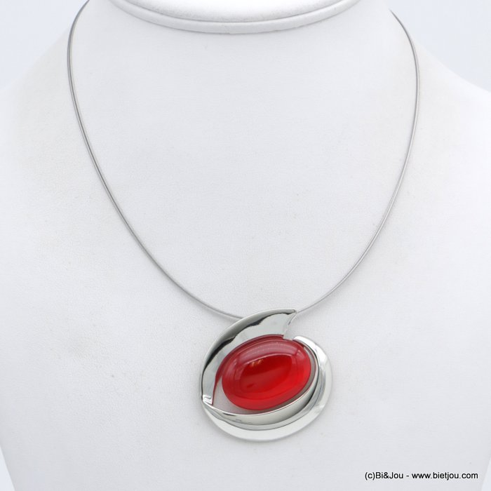 "necklace 0118557-12 ""cat eye"" pendant glass-metal-wires"