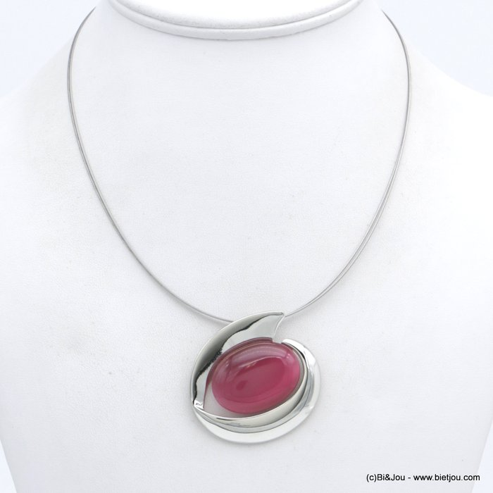 "necklace 0118557-18 ""cat eyes"" pendant glass-metal-wires"