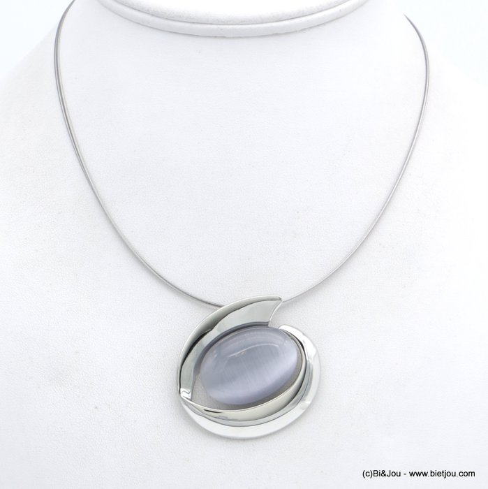 "necklace 0118557-25 ""cat eyes"" pendant glass-metal-wires"