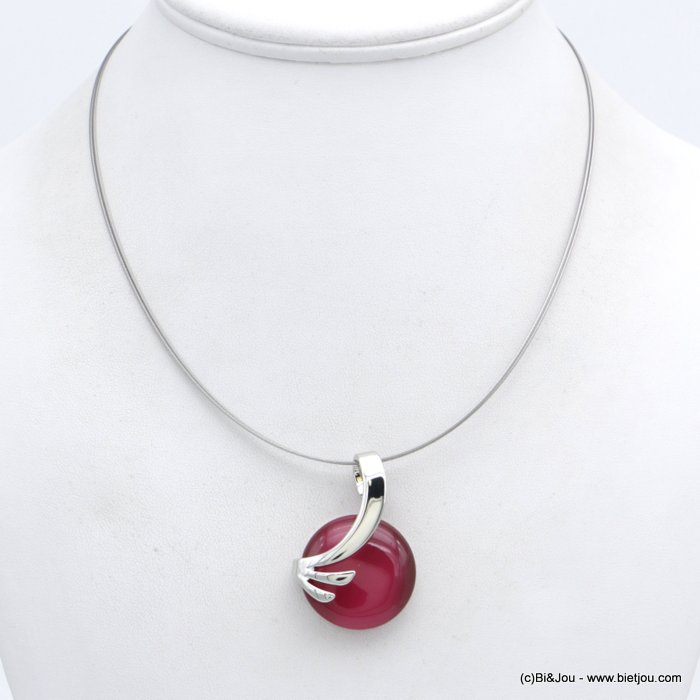 "necklace 0118558-18 ""cat eye"" pendant glass-metal-wires"