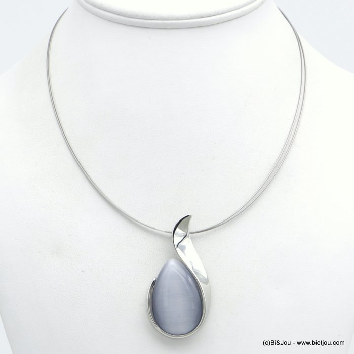 "necklace 0118559-25 ""cat eyes"" pendant glass-metal-wires"