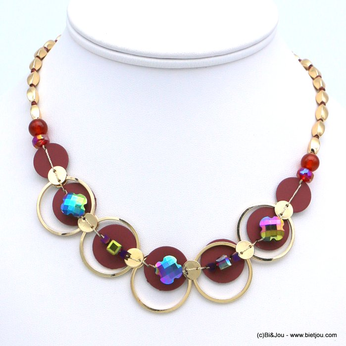 necklace 0118562-10 short coloured metal dot crystal clover