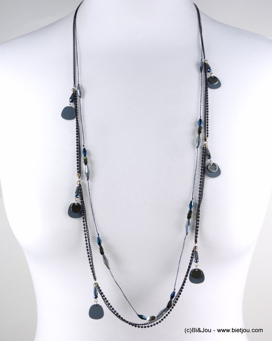 long necklace 0118563-09 sautoir multi-row coloured metal dot crystal thin chains