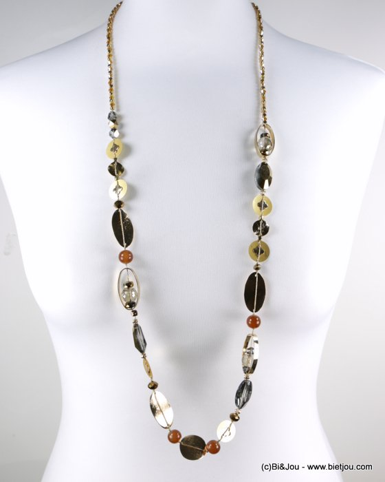 long necklace 0118565-02 sautoir coloured metal dot crystal
