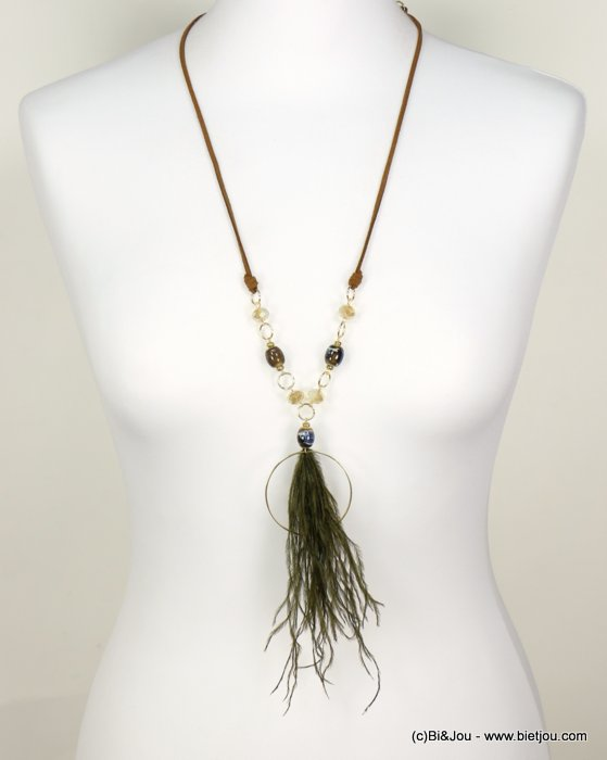 long necklace 0118568-07 sautoir bohemian adjustable length natural feather crystal ceram faux-suede cord