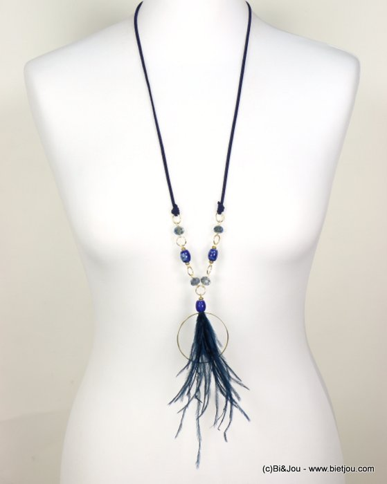 long necklace 0118568-09 sautoir bohemian adjustable length natural feather crystal ceram faux-suede cord