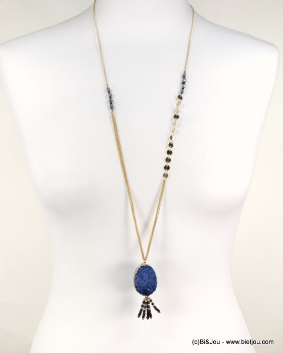 long necklace 0118579-09 sautoir natural stone pendant pearls synthetic crystal metal chain woman