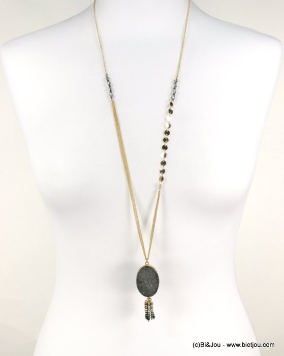 long necklace 0118579-26 sautoir natural stone pendant pearls synthetic crystal metal chain woman