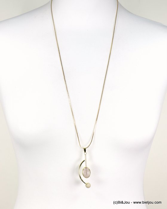 long necklace 0118602-18 sautoir natural stone geometric pendant snake chain