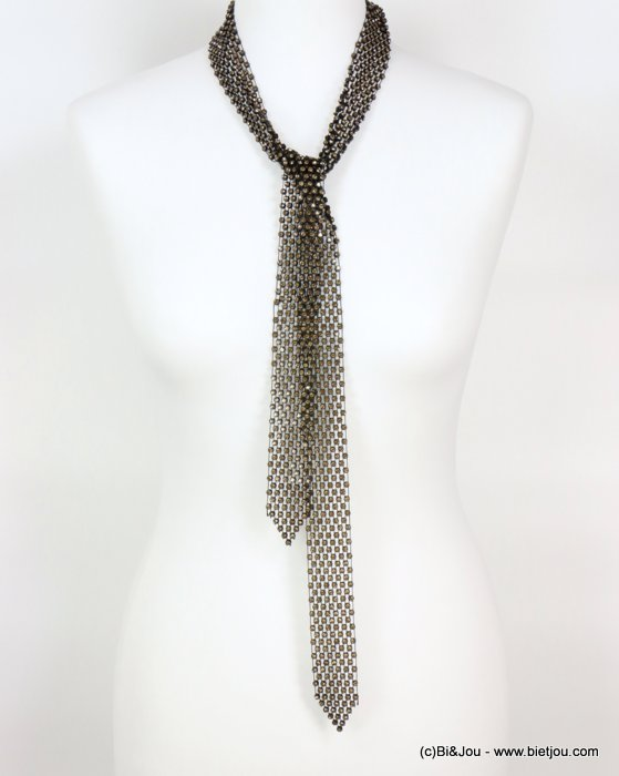 necklace 0118605-14 adjustable tie lasso oversize rhinestone woman