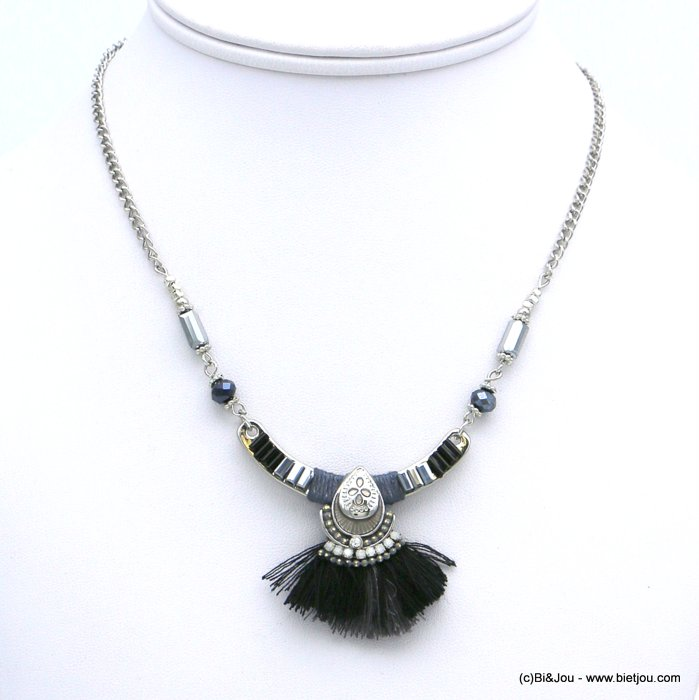necklace 0118613-01 ethnic short fabric tassel crystal metal rhinestone