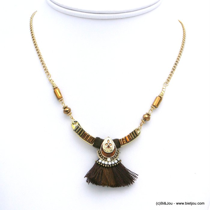 necklace 0118613-02 ethnic short fabric tassel crystal metal rhinestone